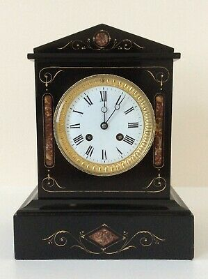 £325 • Buy EXCEPTIONAL FRENCH SLATE & MARBLE MANTEL CLOCK C1880