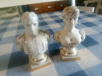 £24.99 • Buy White Figurine Busts Of Napoleon  Josephine By Limoges 4.75  Tall Bisque Figures
