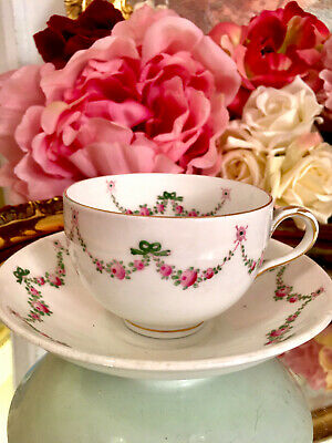 £85 • Buy Crown Staffordshire Hand Painted Tea Cup Saucer Set Roses Ribbons  Garlands