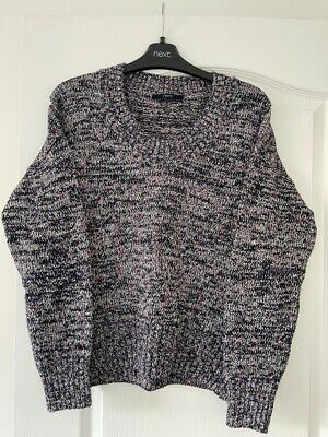£9.99 • Buy Next Navy & Pink Chunky Knit Slouchy Jumper - Size 10  NEW Without Tags