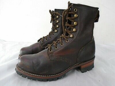 $150 • Buy Frye 87925 Brown Leather Logger Work Boots Men's Size10 Made In USA