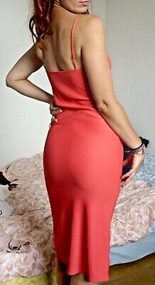 £15 • Buy Stunning Ribbed Bodycon Cami Dress With Slit From TOPSHOP, Coral Pink, Size 10