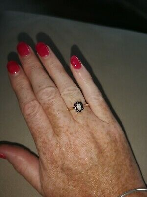 £110 • Buy Pre Owned 9ct Gold Sapphire And Opal Ring