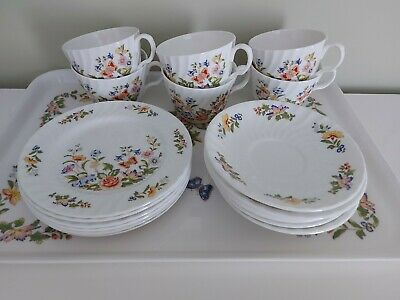 £48 • Buy AYNSLEY COTTAGE GARDEN TEASET & TRAY -  6 TRIOS Cup, Saucer, Tea Plate EXCELLENT