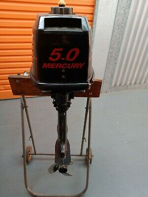 AU1500 • Buy Mercury 5HP Outboard Motor  + Stand On Wheels + Red Fuel Tank -SERVICED