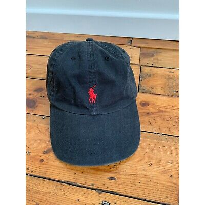 £12 • Buy Ralph Lauren Cap Black With Red Motif And Adjustable Leather Strap