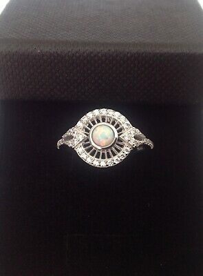 £49.99 • Buy Art Deco Gilson Opal Cz Sterling Silver Openwork Ring October Birthstone Size M