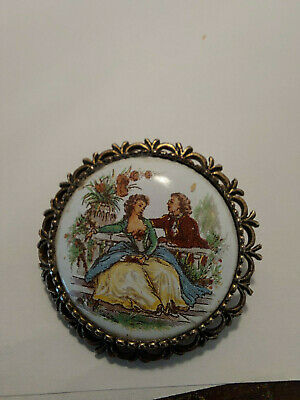 £6 • Buy A Vintage Yellow Metal Circular Bilston Brooch With Limoges Type Insert
