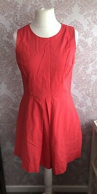 £12.50 • Buy GAP Coral Linen Fit & Flare Summer Dress Size 10 Sleeveless Work Holiday