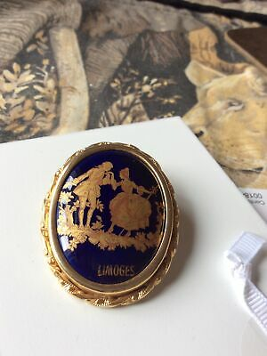 """£4.25 • Buy Absolutely Fabulous Vintage Limoges Signed Porcelain Brooch 1&3/4"""" See Photos"""
