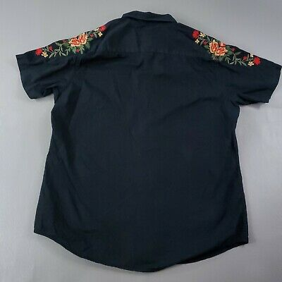 $24.95 • Buy English Laundry Mens Large Button Down Shirt Black Embroidered Red Roses