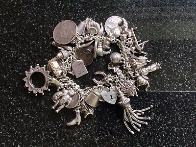 £9.99 • Buy Vintage Sterling Silver Charm Bracelet With Many Small Charms 132gms