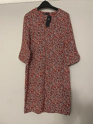 £8.50 • Buy Brand New M&S Summer Dress Red Casual Work Black White Size 8