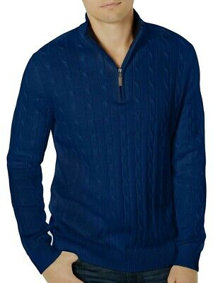 £3.57 • Buy Club Room Mens Sweater Blue Size Large L Ribbed Cable Knit 1/2 Zip $65 #181