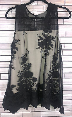 $ CDN31.46 • Buy Anthropologie Sunday In Brooklyn Lace Overlay Tank Blouse Size Large Bohemian
