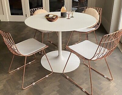 AU99 • Buy 4 X Rose Gold Copper Dining Chairs + White Round Tulip Style Table Pick Up 3186