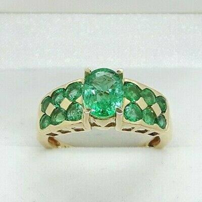 £1295 • Buy 18ct Yellow Gold 2.25cts Emerald Cluster Ring Made By Iliana, UK Ring Size O