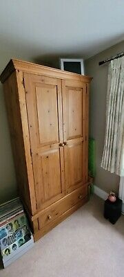 £13.80 • Buy Large Pine Double Wardrobe With Bottom Draw