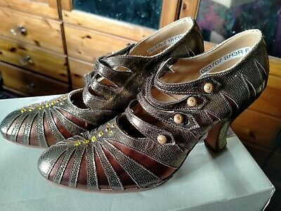£5 • Buy Gamba All Leather Dance/Evening Shoes. Gold Bronze. 1920's Style. Uk 6