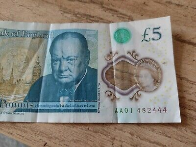 £5 • Buy Polymer Five Pound Note Aa01 Low Number... Very Early Issue