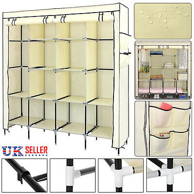£15.99 • Buy Portable Wardrobe + Clothes Hanging Rail Clothes Storage Shelves Large Cupboard