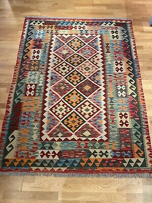 £25 • Buy Afghan Wool Kilim Rug Multicoloured New Excellent Condition 212 X 154 Cm