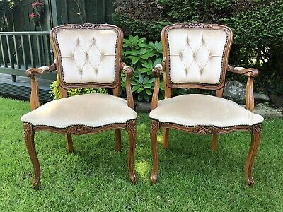 £19.99 • Buy Pair Of Matching French Louis Style Button Back Elbow Carver Chairs