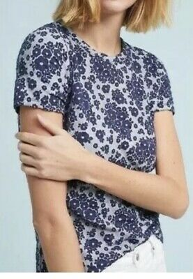 $ CDN16.30 • Buy Anthropologie Postmark Blue Textured Forget Me Not Floral Stitch Top XS EUC
