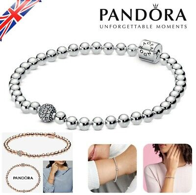 £3.79 • Buy 17 18 20 21 CM Women's Bracelet Beads & Pave S925 Sterling Silver With Gift Bag