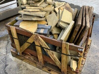 £50 • Buy Misc Pallet Of Crazy Paving Sandstone Slate And Limestone Paving Broken Pieces