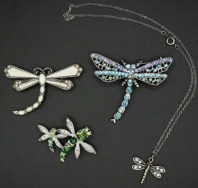 $ CDN18.13 • Buy Vintage Jewelry Lot Dragonfly Brooches Necklace Rhinestones Crystals 1928 Signed
