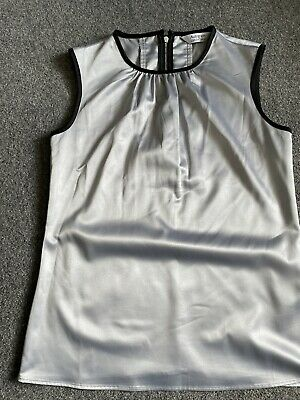 £0.99 • Buy Marks And Spencer Autograph Essentials Size 8 Grey Satin Look Top