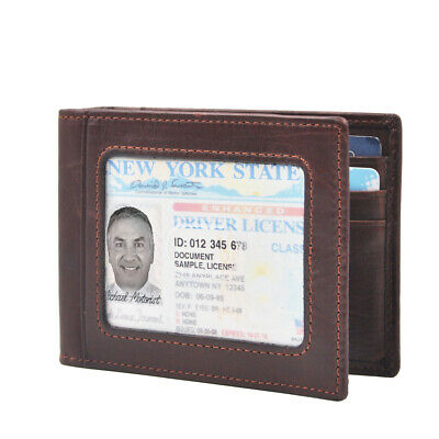 $13.99 • Buy Mens Slim Bifold Leather Front Pocket Wallet With Money Clip ID Window Brown