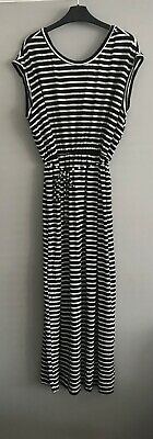 £7.50 • Buy Dorothy Perkins Black And White Striped Maxi Dress Size 20 Elasticated Waist