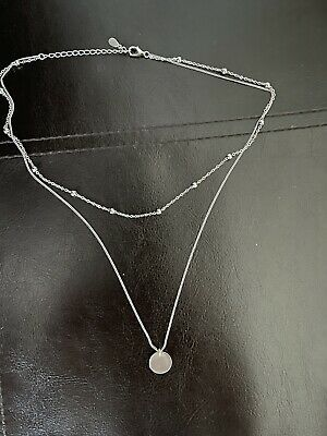 £3 • Buy Womens 925 Sterling Silver Double Layer Chain Necklace Ball Bead Disc Pendant