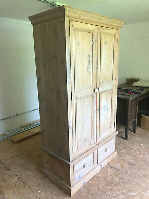 £14.40 • Buy Lovely Antique Effect Pine Wardrobe With Built-in Drawers. Used Condition