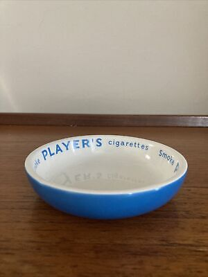 £9.99 • Buy Vintage 1963 Player's Cigarettes Blue Round Ashtray Man Cave Room Home Bar