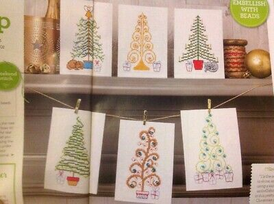 £1.99 • Buy (X6) Sparkly Bead Tree Cards Presents Cat Dog Christmas Cross Stitch Chart