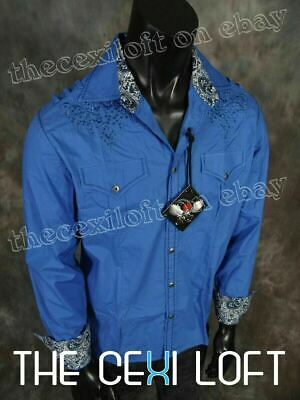 $21.95 • Buy Mens Western Shirt Blue Embroidered Stitch With Stones Button HOUSE OF LORDS