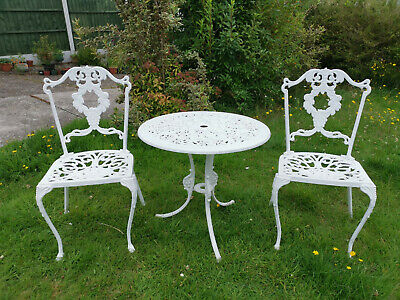 £255.99 • Buy Vintage Cast Metal Garden Table And Chairs Bistro Patio Set Furniture