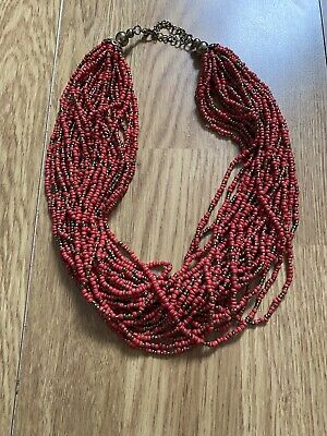 £8.50 • Buy Oasis Ladies Red Beaded Multi Layer Statement Necklace