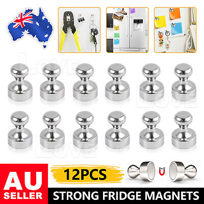 AU8.95 • Buy 12x Mini Strong Fridge Magnets Whiteboard Push Pins For Message Board Stickers