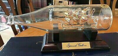 £5 • Buy Ship In Bottle - Mayflower Glass Collection Spanish Galleon With Gilded Sails