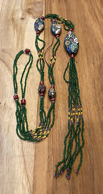 $75 • Buy Vintage Liberty Of London Venetian Millefiori Bead Necklace With D' Aleppo Beads