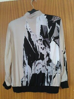 £6 • Buy All Saints Beige Ireen Silk Bomber Jacket Uk10 Rip It Up Graphic Print On Back