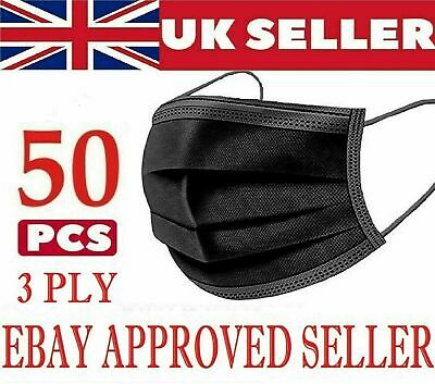 £3.95 • Buy 50 X Disposable Black Face Masks 3 Ply Dental Non Medical Surgical Mask Covering