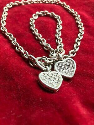 £35 • Buy Sterling Silver And Heart Encrusted Diamond T Bar Necklace And Bracelet
