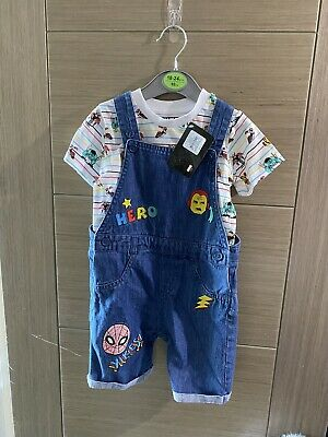 £1.80 • Buy Marvel Dungarees Set Outfit Primark 18-24months Brand New Tags
