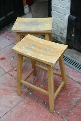 £40 • Buy Pair Of Wooden Lab Stools