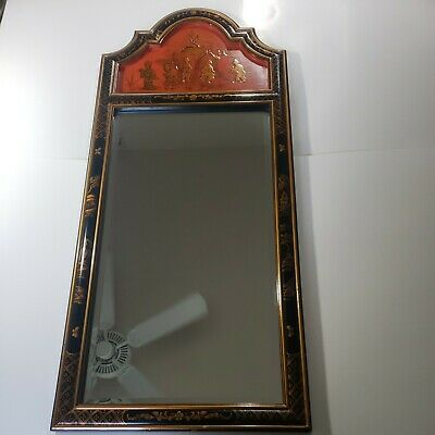 $225 • Buy Vintage Oriental Chinese Mirror Maitland-Smith Black Lacquer Hand Painted 42X18